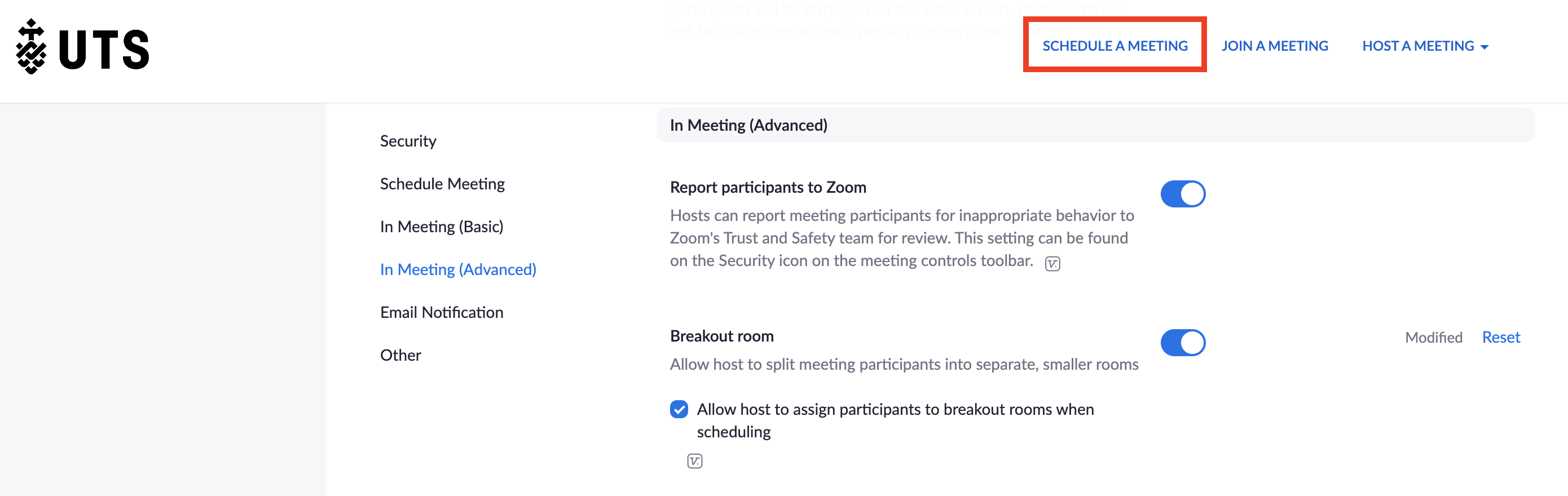 Screenshot of UTS Zoom portal with 'Schedule a Meeting' link highlighted
