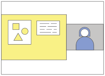 an illustration of slides and a person, to show that recordings can include both slides and yourself
