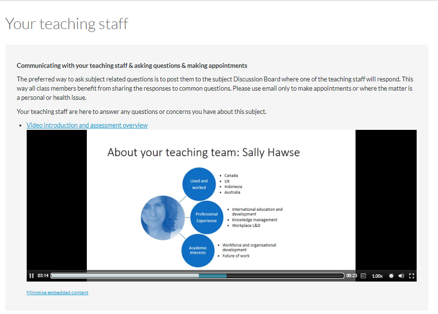 A welcome page including a video that covers the assessment overview as well as introducing the teaching staff in the subject.