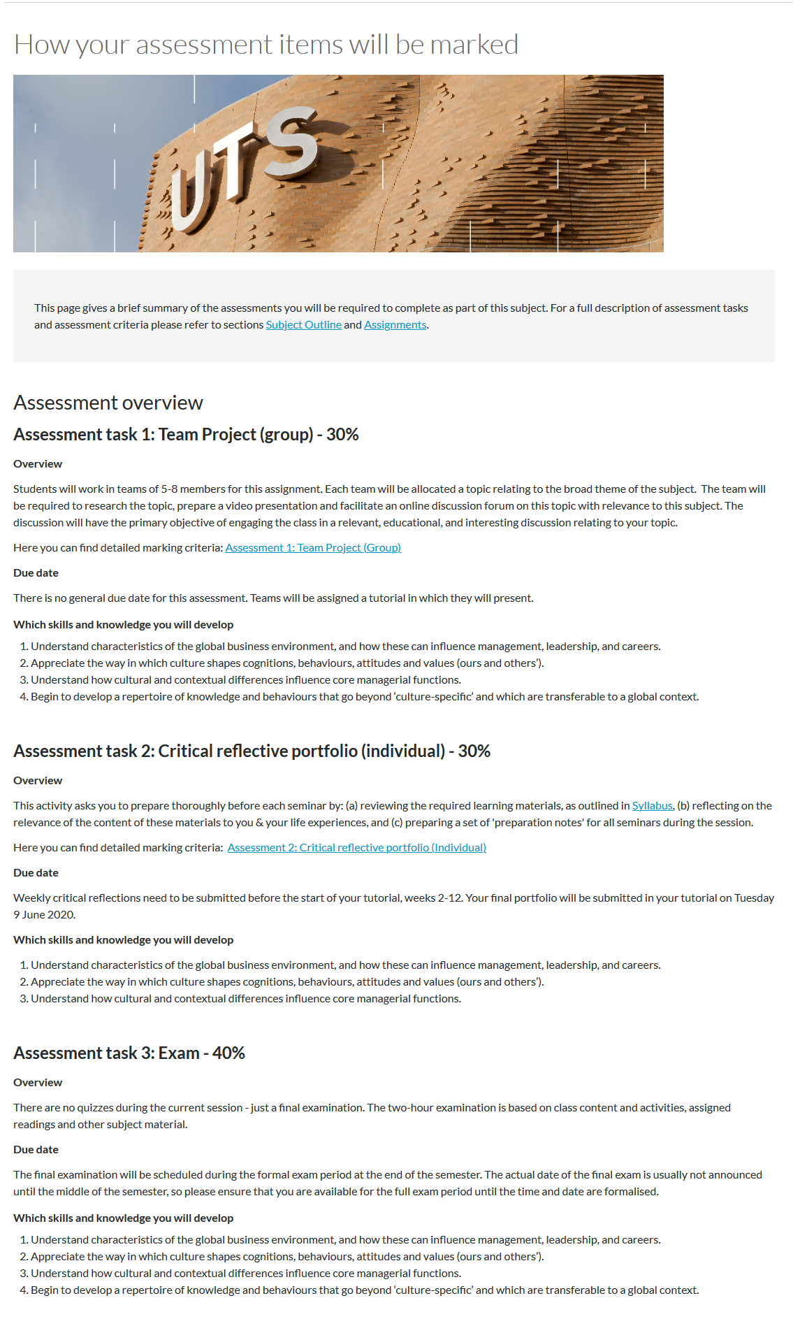 A Canvas page displaying an assessment overview of the subject. It breaks down the assessments, their due dates and the skills and knowledge developed from each task.