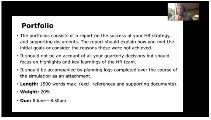 A slide in the video explaining a portfolio assessment the students will need to complete in the subject.