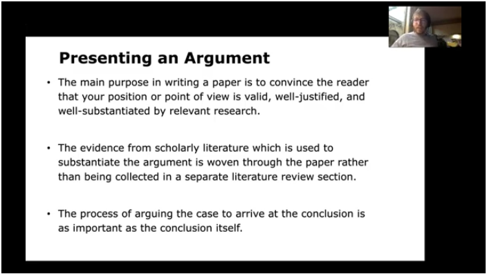 A slide in the video outlining how to present an argument in a literature paper.
