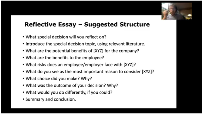 A slide in the video explaining a reflective essay assessment the students will need to complete in the subject.