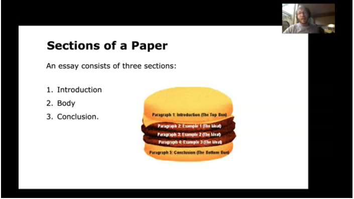 A slide in the video outlining the 3 sections of a paper.
