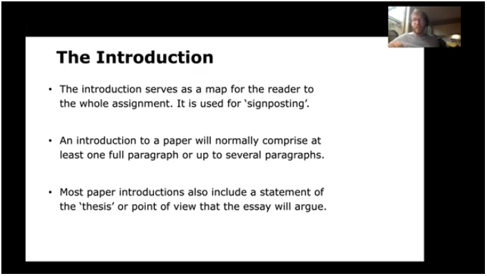 A slide in the video providing key points in writing an introduction to a paper.