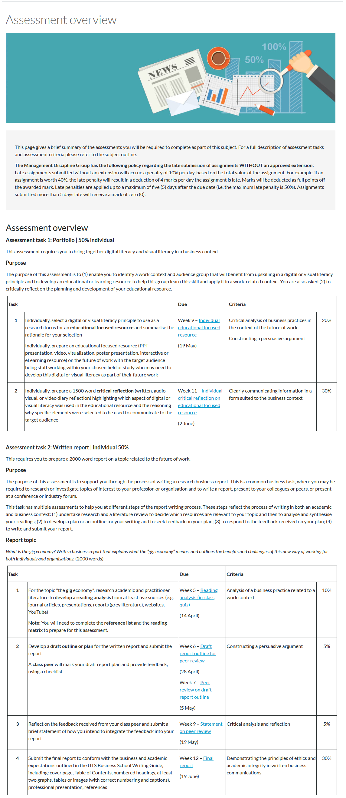 An assessment overview page, with each assessment sectioned with a heading. Each assessment section also includes a task table of what students need to complete for each assessment.