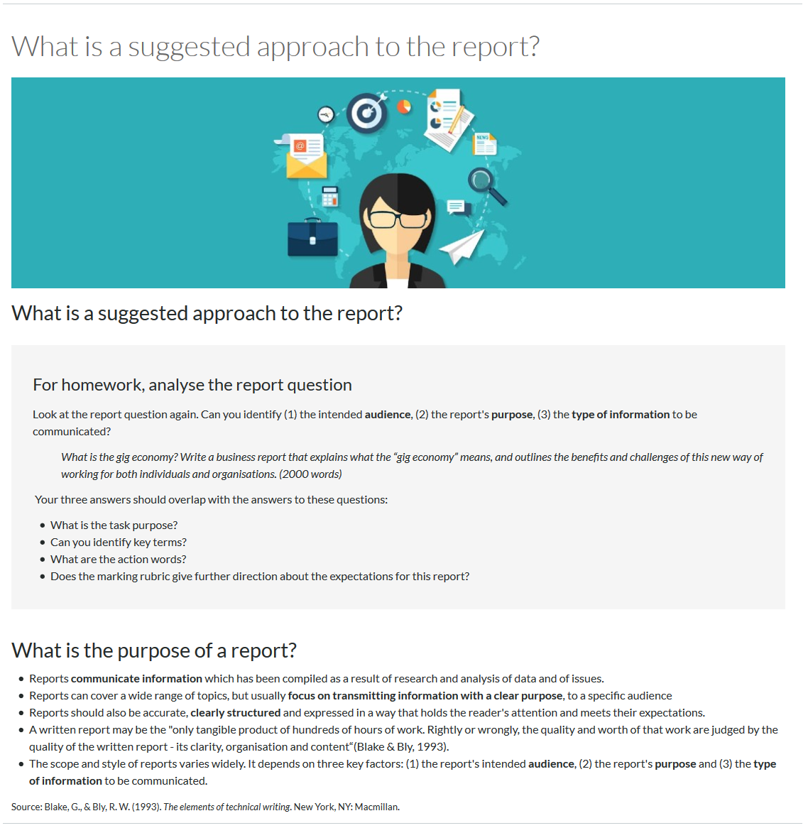 A page example guiding students the suggested approach to an assigned report assessment. This is broken down by the page being sectioned by how to analyse the report question, and the purpose of a report.
