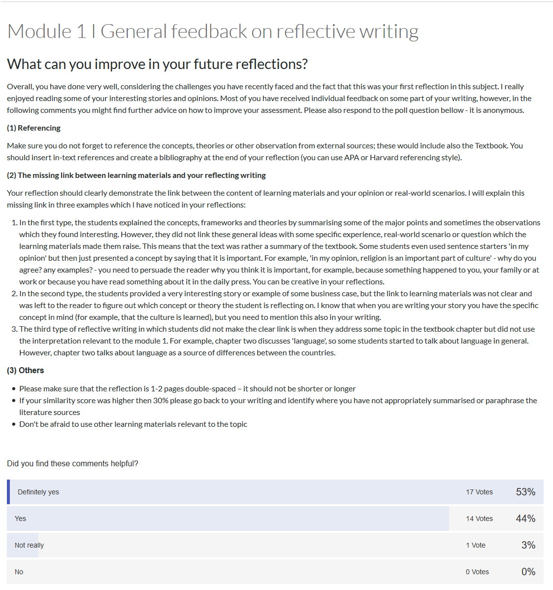 A Canvas page providing general feedback on reflective writing as well as a poll underneath to indicate whether or not this information was helpful for the students.