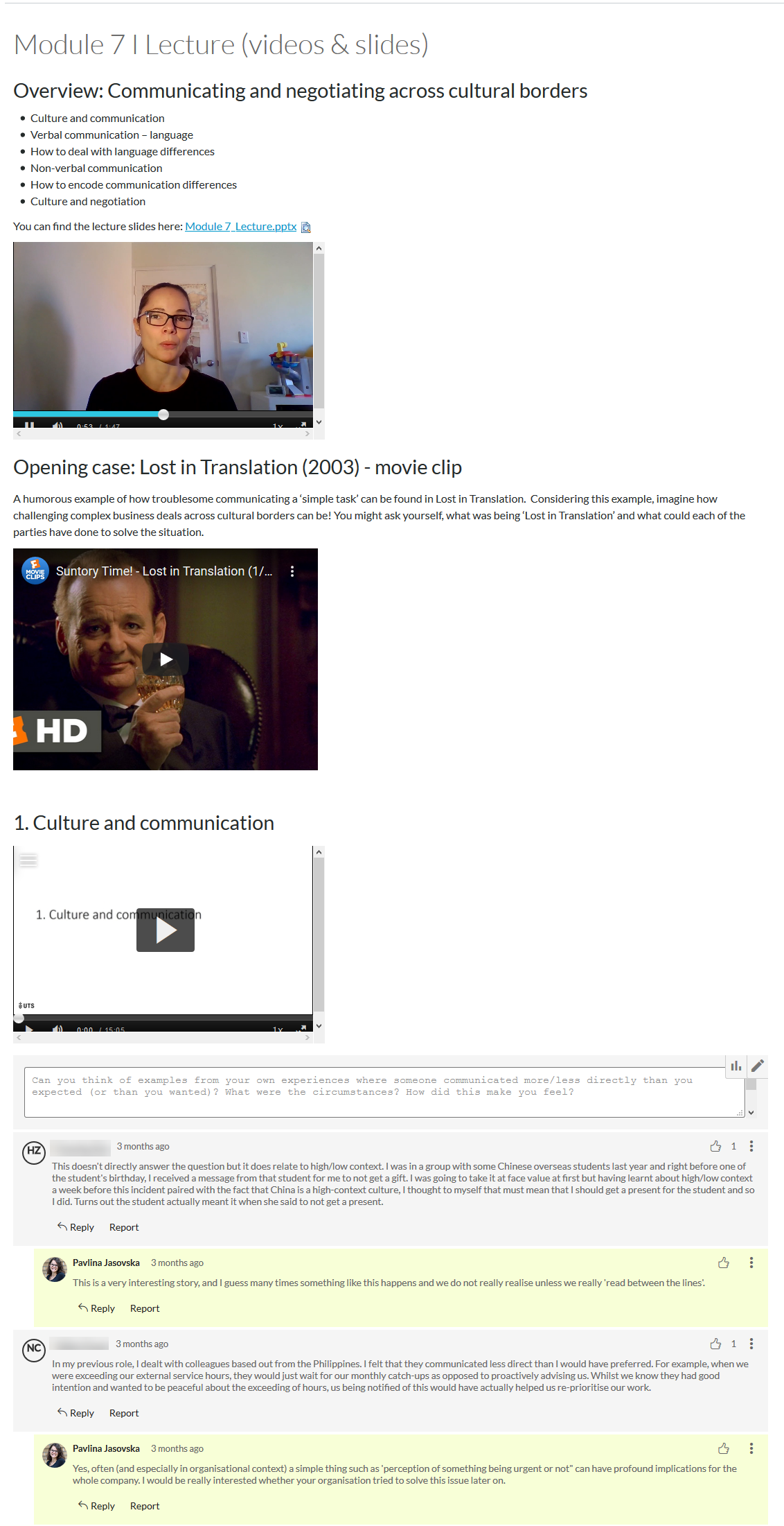A Canvas page displaying a collection of short videos, which have been broken up with text and a comments box below to allow the students to engage.