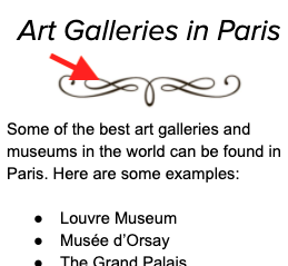 snippet of text titled 'art galleries in paris', red arrow pointing at swirly decoration beneath heading.