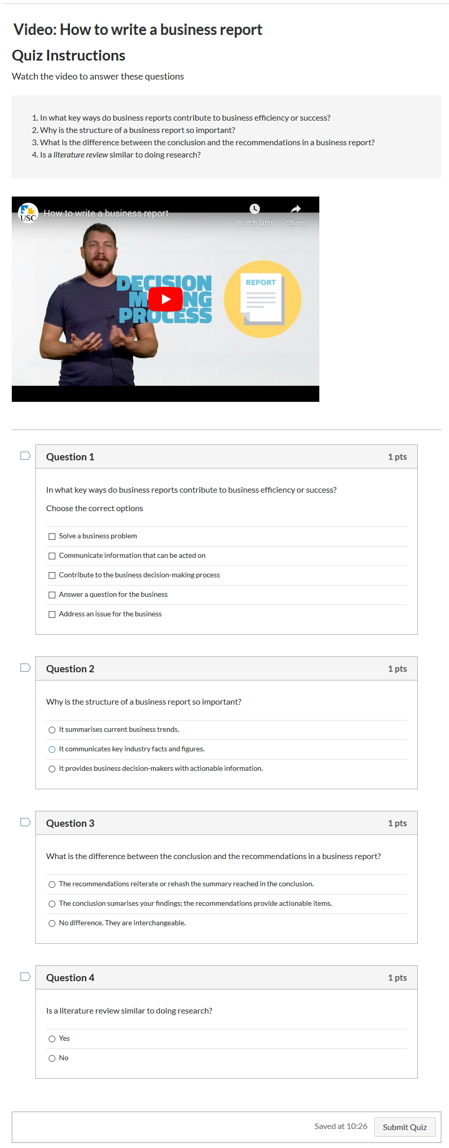 A Canvas quiz with 4 questions based on the embedded video.