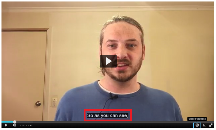 """Screenshot of a Kaltura video player with a red box highlighting a closed captions display with the caption """"So as you can see"""""""