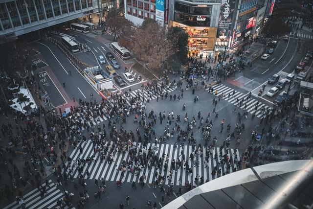 the Shibuya crosswalk in Tokyo, Japan.