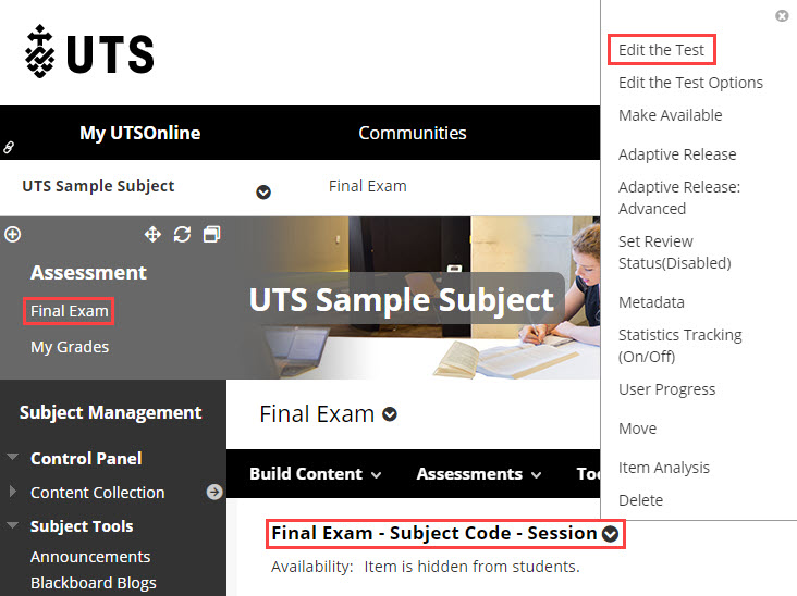 Adding questions to an exam shell in UTSOnline