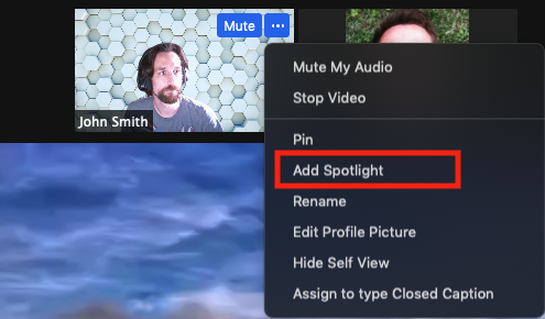 Screenshot of Zoom meeting participant window with 'Add Spotlight' menu option highlighted