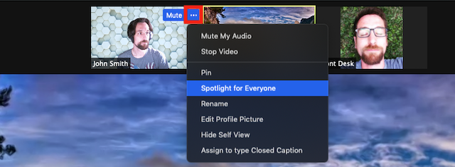 Screenshot of Zoom meeting participant window with ellipsis menu button highlighted